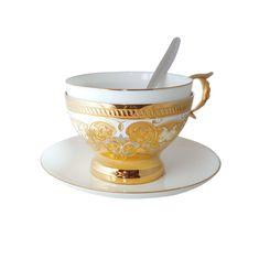Подарочная чайная пара с ложкой ОРНАМЕНТ от Zlatoust