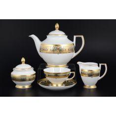 Чайный сервиз ARABESQUE SELADON GOLD от Falkenporzellan на 6 персон, 17 предметов