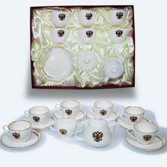 Подарочный чайный сервиз на 6 персон, 14 предметов, декор - герб РФ, от Bohemia
