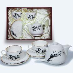 Подарочный набор из двух чайных пар и чайника с журавлями от Bohemia
