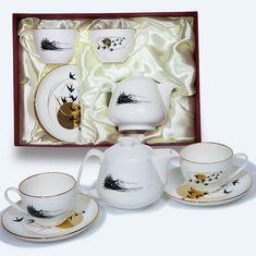 Подарочный набор из двух чайных пар и чайника с ласточками от Bohemia