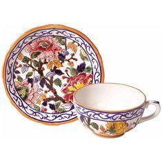 Чашка и блюдце для завтрака ПИОНЫ от Gien