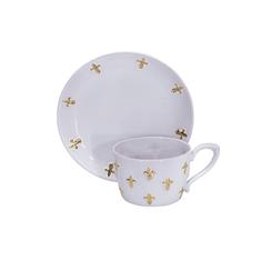 Малая чайная пара белая с золотыми лилиями от Евгении Крюковой