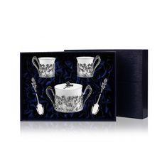 Набор для кофе из фарфора и столового серебра РОЗА в футляре от Аргента