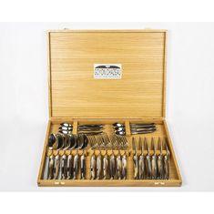 Набор столовых приборов с рукоятками из темного рога от Goyon-Chazeau на 6 персон, форма Лагьоль, 24 предмета