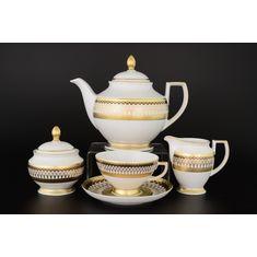 Чайный сервиз TORONTO B&W GOLD от Falkenporzellan на 6 персон, 17 предметов