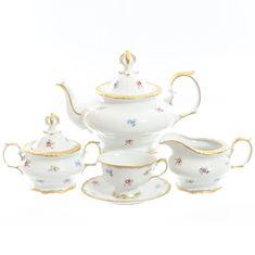 Чайный сервиз МЕЛКИЕ ЦВЕТЫ от Queen's Crown на 6 персон, 17 предметов