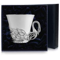 Чашка чайная ЛЕБЕДЬ в футляре от Argenta, фарфор с серебром