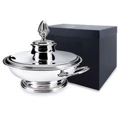 Супница с крышкой круглая ИМПЕРО из серебра в футляре от Argenta