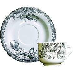 Чашка и блюдце для чая ЧЕРНЫЕ ТЮЛЬПАНЫ от Gien (Франция)