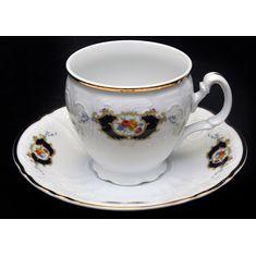 Фарфоровые чайные чашки 240 мл с блюдцами СИНИЙ ГЛАЗ от Bernadotte, 6 пар