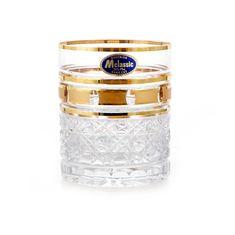 Набор хрустальных стаканов 280 мл ЗОЛОТЫЕ ОКОШКИ от Mclassic, 6 шт.