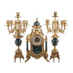 Набор из часов и двух канделябров от Alberti Livio, латунь, зеленый мрамор