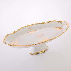 Блюдо овальное 50 см на ножке КЛЕНОВЫЙ ЛИСТ БЕЛЫЙ от Weimar Porzellan, фарфор