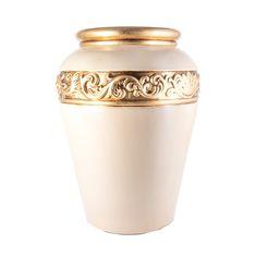 Керамическая ваза для цветов от Orgia, цвет бежево-золотой, высота 52 см