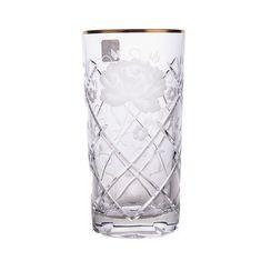 Набор хрустальных стаканов 370 мл РОЗА, золотой декор, SUNROSE GOLD от Arnstadt Kristall