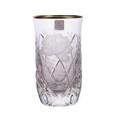 Набор хрустальных стаканов 300 мл РОЗА, золотой декор, SUNROSE GOLD от Arnstadt Kristall