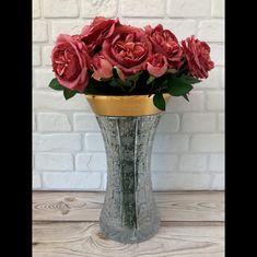 Ваза для цветов 35.5 см СНЕЖИНКА С ЗОЛОТОМ от Mclassic, хрусталь