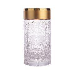 Набор хрустальных стаканов 350 мл СНЕЖИНКИ С ЗОЛОТОМ от Mclassic, 6 шт.