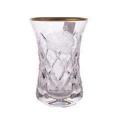Набор чайных стаканов Армуда РОЗА, золотой декор, SUNROSE GOLD от Arnstadt Kristall, 6 шт.