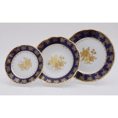 Набор тарелок МЭРИ-ЭНН, декор ЗОЛОТАЯ РОЗА КОБАЛЬТ, от Leander на 6 персон, 18 предметов