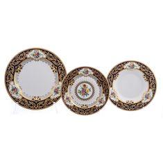 Набор тарелок OPAL COBALT GOLD от Falkenporzellan на 6 персон, 18 предметов