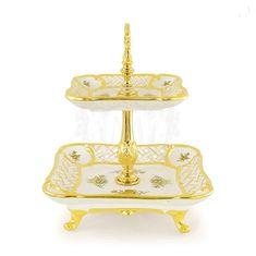 Менажница 2 яруса FIORI GOLD от Migliore, высота 35 см, керамика, латунь, золото