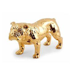 Керамическая собака-бульдог GIARDINO от Migliore с золотом и кристаллами Swarovski