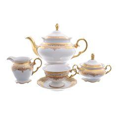Чайный сервиз ALASKA CREAM zoloto от Carlsbad на 6 персон, 17 предметов