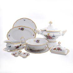 Столовый фарфоровый сервиз МЕЙСЕНСКИЙ БУКЕТ от Queen's Crown на 6 персон, 29 предметов