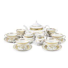 Чайный фарфоровый сервиз СОНАТА ИЗЯЩНОЕ ЗОЛОТО от Leander на 6 персон, 15 предметов
