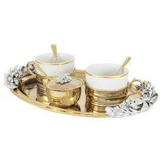 Чайный набор от Гамма (Chinelli), золотистый декор, на 2 персоны, 9 предметов, подарочная упаковка