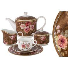 Чайный сервиз АНГЛИЙСКАЯ РОЗА от Anna Lafarg Emily на 6 персон, 21 предмет, подарочная упаковка
