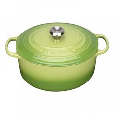 Чугунная кастрюля круглая для запекания (жаровня) с крышкой от Le Creuset, 3.3 л, 22 см, зеленый пальмовый цвет