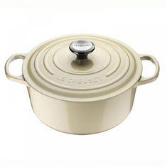 Чугунная кастрюля круглая для запекания (жаровня) с крышкой от Le Creuset, 28 см, жемчужный цвет