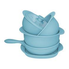 Набор голубой кухонной посуды из керамики от Oxford, 5 предметов (3 кастрюли, сотейник, сковорода-гриль)