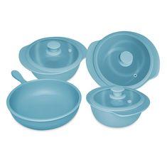 Набор голубой кухонной посуды из керамики от Oxford, 4 предмета (3 кастрюли, сотейник)