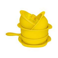 Набор желтой кухонной посуды из керамики от Oxford, 5 предметов (3 кастрюли, сотейник, сковорода-гриль)