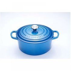 Чугунная круглая кастрюля для запекания (жаровня) с крышкой от Le Creuset, 4.2 л, 24 см, синий цвет марсель
