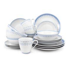 Набор фарфоровой посуды ГОЛУБЫЕ УЗОРЫ от Leander на 4 персоны, 20 предметов
