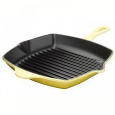 Квадратная сковорода-гриль с литой ручкой от Le Creuset, 26 см, чугун, желтый цвет