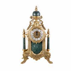 Часы настольные от Alberti Livio, латунь, зеленый мрамор, 45х25х18 см