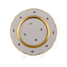 Блюдо круглое 32 см БЛЮМЕН ЛЕНТА ЗОЛОТАЯ от Bavarian Porcelain, фарфор
