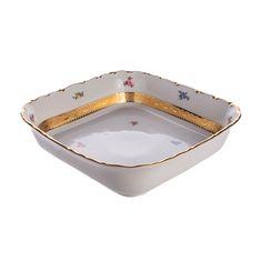 Салатник квадратный 24 см БЛЮМЕН ЛЕНТА ЗОЛОТАЯ от Bavarian Porcelain