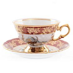 Набор чайных пар 200 мл ФРЕДЕРИКА ОХОТА КРАСНАЯ расцветка от Roman Lidicky, 6 пар