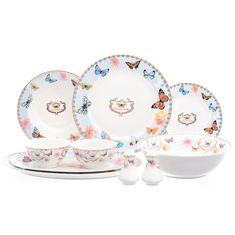 Фарфоровый столовый сервиз с бабочками от Royal Classics (Huawei ceramics) на 6 персон, 25 предметов