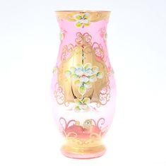 Ваза для цветов 30 см ЛЕПКА ЗОЛОТАЯ от Bohemia, богемское стекло