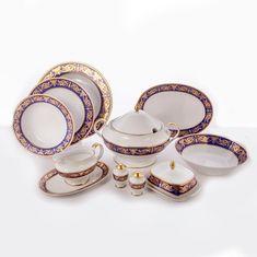Сервиз столовый АЛЕКСАНДРИЯ КОБАЛЬТ С ЗОЛОТОМ от Bavarian Porcelain на 6 персон, 21 предмет