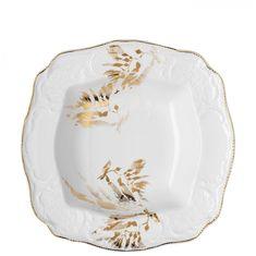 Фарфоровый салатник квадратный 30 см МИДАС, белый цвет с золотым, от Rosenthal