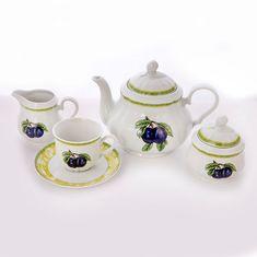 Сервиз фарфоровый чайный РОЗА, декор СЛИВА 8052001, от Thun 1794 a.s. на 6 персон, 15 предметов